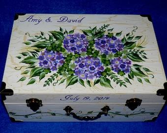 Romantic Personalized Wedding Card Holder, Decorative Painted Hydrangea Wedding Keepsake Box, Handmade Wood Floral Suitcase Box, Bride Gift