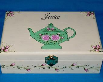 Elegant Custom Wood Tea Box Gift, Personalized Handmade Wooden Tea Holder, Decorative Tea Chest, Hand Painted Floral Tea Pot Gift Box