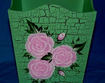 Wooden Trash Can Custom Hand Painted Waste Basket Pink Roses Garbage Can Decorative Shabby Chic Office Bedroom Home Decor Housewarming Gift