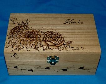 Decorative Wood Tea Box Wood Burned Floral Tea Chest Engraved Wooden Tea Storage Handmade Gift for Bride Peony Dahlia Flowers