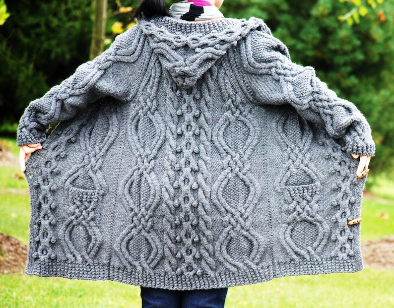 e864488f32ccb Hand Knit Women Chunky Cable Aran Irish Fisherman Sweater Coat