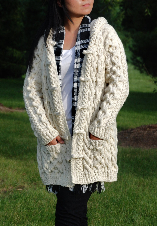 Hand Knit Women Chunky Cable Aran Irish Fisherman Sweater Coat Etsy