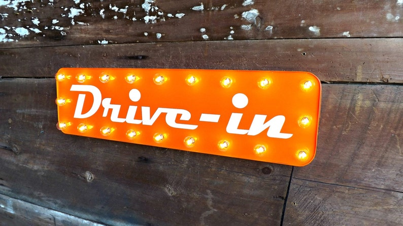 drive in movie theater sign lighted theatre marquee garage etsy