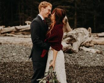 Burgundy Crochet Shawl, Bridal Bolero, Winter Wedding Wrap by Laremi