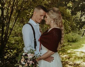 Burgundy Bridal Sweater, Winter Wedding Shawl Knit by Laremi