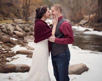 Minimal Wedding Accessories, Boho Wedding Cover Up, Bridal Cape, Burgundy Crochet Shawl, Alternative Wedding Wrap, Bridesmaids Gift