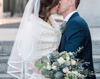 Knit Bridal Bolero, Ivory Bridal Cape, Romantic Bridal Capelet, Knit Bridal Shawl, Winter Wedding Stole, Bridal Sweater, Crochet Shawl