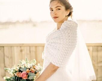 Garden Wedding Sweater, Ivory Bridal Bolero Jacket, Knit Shawl by Laremi