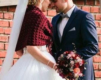 Rustic Wedding Shawls and Wraps, Marsala Bridal Cape, Fall Wedding Bolero, Crochet Bridal Shawl, Bridesmaid Capelet Gift, Knit Wrap, Shrug