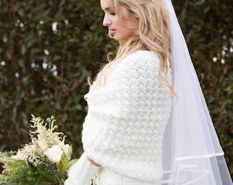Ivory Bridal Sweater, Winter Wedding Shawl Knit by Laremi