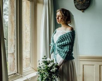 Winter Wedding Cape Bridal Bolero, Crochet Shawl by Laremi in soft sage green yarn