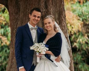 Something Blue Bridal Bolero Wedding Shrug Hand Crocheted for Chilly Summer Weddings