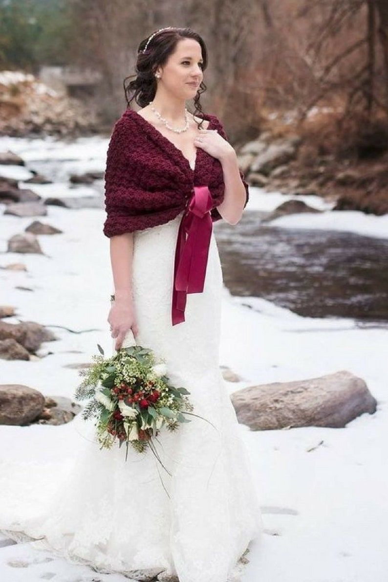 70e41d156b82 Burgundy Shrug Wedding Bolero Jacket Bridesmaid Cover Up | Etsy