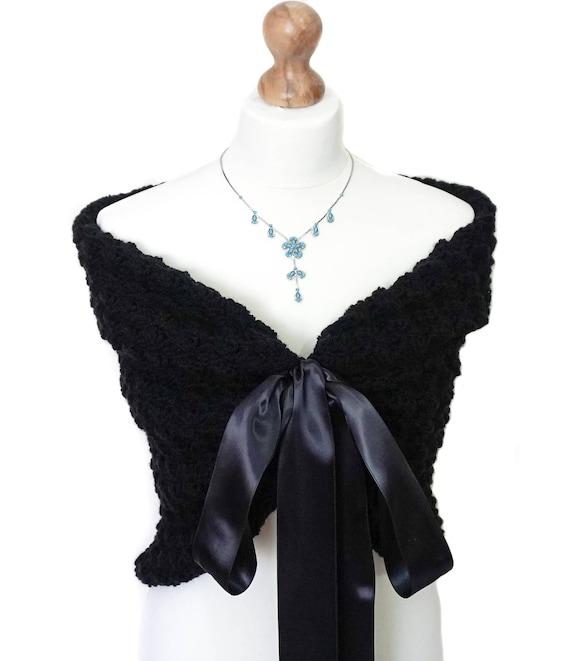 a7c287f459 Black Bolero Shrug Wedding Party Cape Knit Shawl Cardigan | Etsy