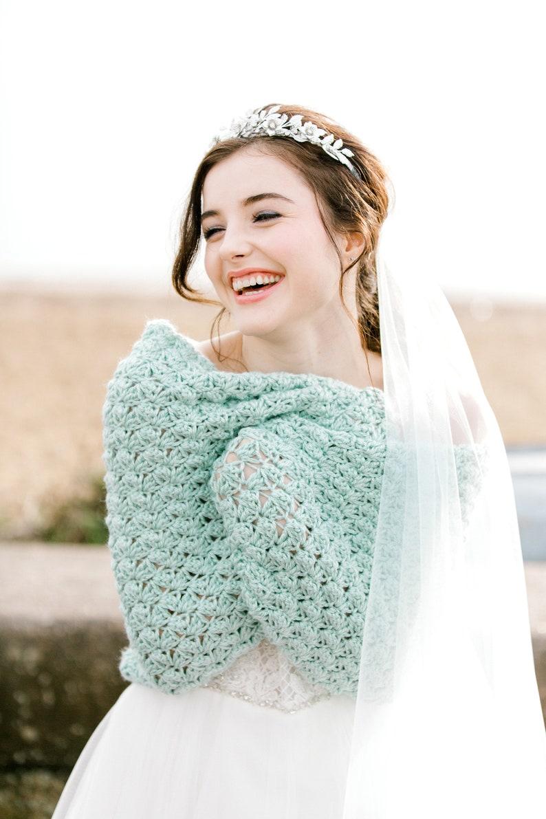 Pastel Green Wedding Shawl Bridesmaid Bolero Mint Bridal image 0