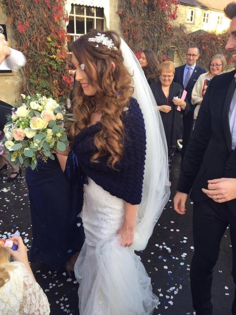 e7c8ae49cf Fall Wedding Shawl Navy Bridal Cape Rustic Wedding Wrap | Etsy
