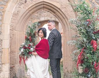 Claret Red Bridal Sweater, Winter Wedding Shawl Knit by Laremi