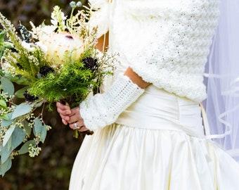 Bridal Gloves, Fingerless Mittens, Ivory Gloves - Children size