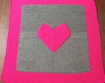Crochet Pattern // Emma Heart Blanket // Easy // Written Pattern // Blanket