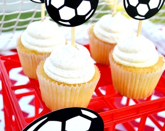 Soccer Ball Cupcake Toppers (Set of 12)