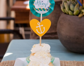 Heart Anchor Cupcake Toppers (Set of 12)