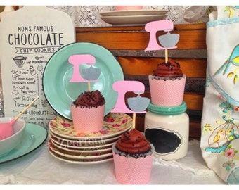 Kitchen Mixer Cupcake Toppers Set of 12