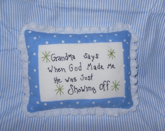 Hand Embroidered Baby Pillow- Gift from Grandma for Baby Boy