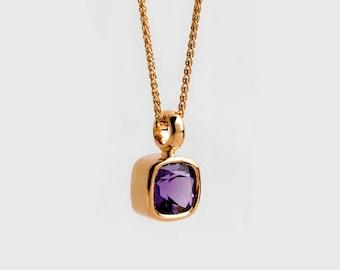 Amethyst Necklace 22Kt Gold Bezel Pendant, Amethyst 18k Gold Pendant, Violet Birthstone Pendant, Square Pendant February Birthstone, Purple