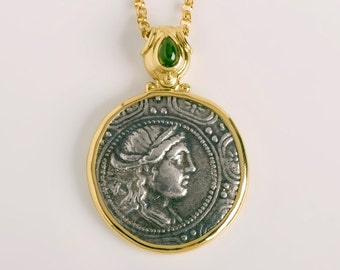 Ancient Greek Coin Pendant Macedonia Authentic Artemis Coin Pendant | Green Tourmaline Pendant Women,18k Gold Bezel Medallion