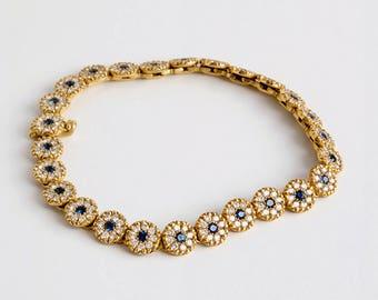 Small Disk Gold Bracelet, Diamond & Sapphire Tikas Bracelet, Gold Links Bracelet, Disc Bracelet for Woman, Handmade Bracelet