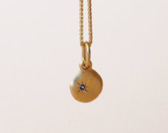 Tiny Sapphire Gold Necklace, 14k Yellow Gold Pendant Disc Charm, Small Pendant Dainty Saphire Necklace Gold Jewellery