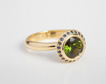 Round Green Tourmaline Ring & Blue Sapphire Ring   Women Statement Ring, Facet Tourmaline 18k Gold Women's Ring Custom Size