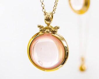 Large Rosequartz Gold Pendant, Round Bezel Pendant, Rose Quartz Pendant October Birthstone,18k Gold Pink Gemstone Libra Pendant