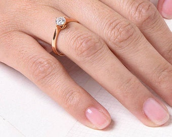 Classic Solitaire Diamond Engagement Ring, Rose Gold Diamond Ring,Rose Gold Ring, 4-Prong Engagement Ring 0.25 CTW Diamond Ring