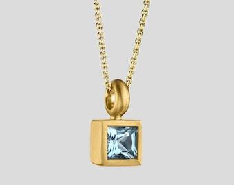 22k Pendant, Gold Aquamarine Pendant, Faceted Aquamarine, Square Bezel Necklace, Square Aquamarine Necklace, Solitaire Pendant