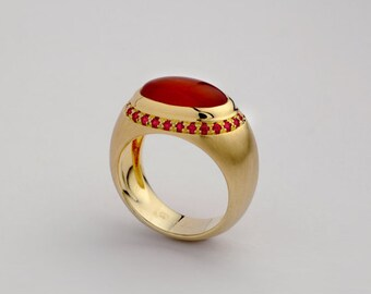 Women's Bombe Gold Ring, Gemstone Carnelian & Ruby Gold Ring, Bold ring, Carnelian Domed Ring, Ruby Pave ring, Cocktail Ring