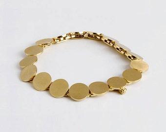 Large Gold Bracelet, Flexible Bracelet, Discs Bracelet, Gold Links Bracelet, Disk Jewelry 14k 18k Gold Bracelet Handmade