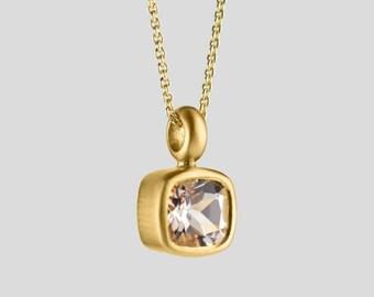 Morganite Necklace 22Kt Gold, Natural Birthstone Morganite Pendant Square Bezel Pendant Birthstone Pendant Unique Gold Pink Gem