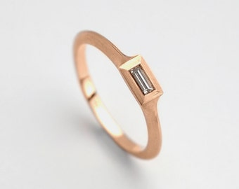 Minimalist Engagement Ring, Dainty Diamond Baguette Ring, Dainty Engagement Ring, Rose Gold Delicate Ring, Baguette Solitaire