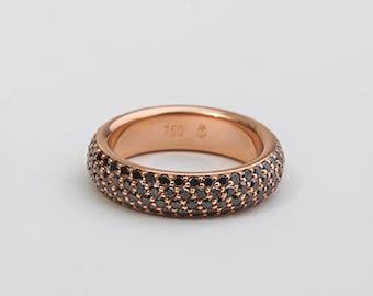 Black Diamonds Ring Band, Eternity Ring Pave, 18k Rose Gold Ring, Black Diamonds Anniversary Ring Black Diamond Ring For Her