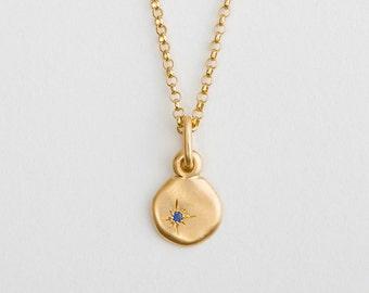 Dainty Blue Sapphire Gold Necklace 18k Yellow Gold Charm Tiny Pendant, Sapphire Necklace,Birthstone Charm Saphire Pendant Cloud