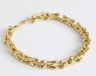 Organic Bracelet, 18k Gold Link Bracelet, Gold Bones Bracelet,14k Solid Gold Bracelet for Men Women,Handmade Bracelet Massive