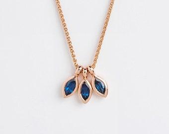 Dainty Ceylon Sapphire Pendant, Blue Peacock Pendant Necklace, 18k Minimal Saphire Cluster Pendant Marquise, Blue Birthstone Pendant
