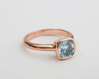 18k Rose Gold Aquamarine Ring, Simple Engagement Ring, Solitaire Ring, 18k Gold Solitaire Ring, Pisces March Birthstone Ring