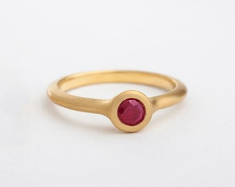 Large Ruby Ring, Simple Ruby Ring, Stack Ring, Ruby Engagement Ring, Wide Solitaire Ruby Ring, 18k Gold Ring, Minimalist Ruby