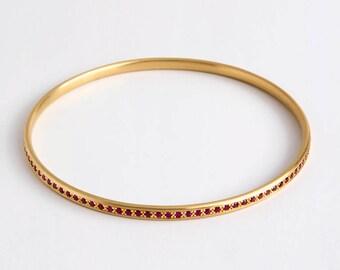 18k Solid Gold Ruby Bangle Bracelet, July Birthstone Bracelet, Dainty Ruby Bracelet, Stacking Gemstone Bracelet Genuine Ruby