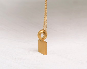 Flat Cube Pendant 14k Gold Cube Solid Gold, Nugget Necklace, Small Geometric Minimal Pendant, Square Gold Bar Necklace