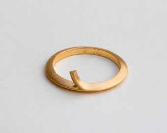 Gold Contemporary Ring, Thin Ring, Unique Stacking Ring Slim Band 14 18 karat Gold, Dainty Avant Garde Ring Yellow Gold, Unique Ring for Her
