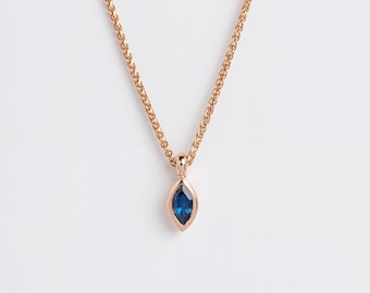 Dainty Ceylon Sapphire Pendant, Peacock Pendant, Blue Feather Pendant 18k Minimal Saphire Necklace, Solitaire Marquise Bezel Blue Birthstone