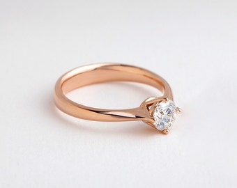Classic Solitaire Ring | Rose Gold Diamond Engagement Ring, 4-Prong Solitaire Ring, 0.5 CTW Diamond Ring, Diamond Promise Ring